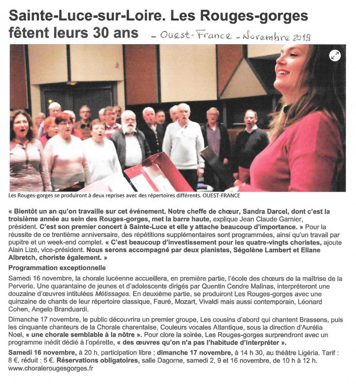 Chorale 30 ans ouest france